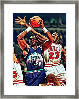 Karl Malone Vs. Michael Jordan Framed Print