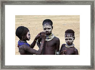 Karo Tribe Boys Face Painting Framed Print