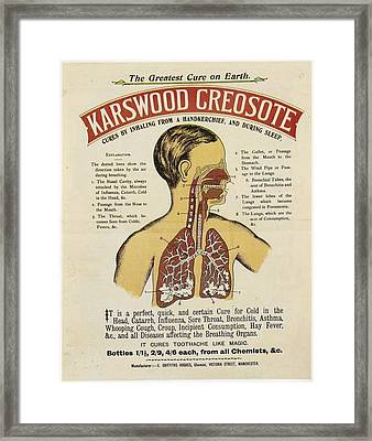 Framed Print featuring the photograph Karswood Creosote Medicine Vintage Ad by Gianfranco Weiss