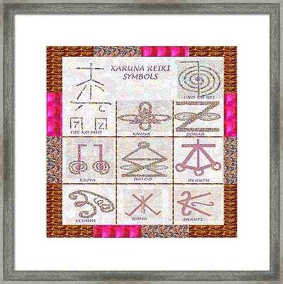 Karuna Reiki Healing Power Symbols Artwork With  Crystal Borders By Master Navinjoshi Framed Print