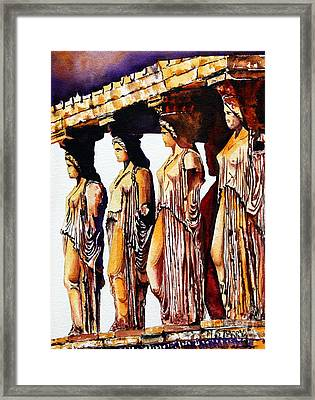 Karyatides Framed Print by Maria Barry