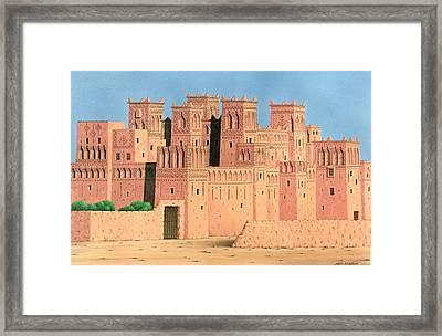 Kasbah, Southern Morocco, 1998 Acrylic On Linen Framed Print by Larry Smart