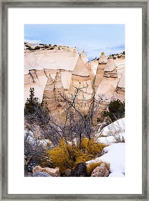 Kasha Katuwe Tent Rocks In The Winter Snow Framed Print by Ellie Teramoto