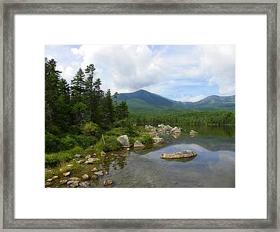 Katahdin And Sandy Stream Pond Framed Print by Georgia Hamlin