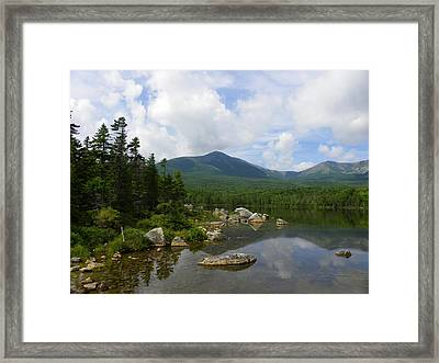 Katahdin At Sandy Stream Pond 1 Framed Print