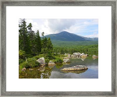 Katahdin Framed At Sandy Stream Pond Framed Print