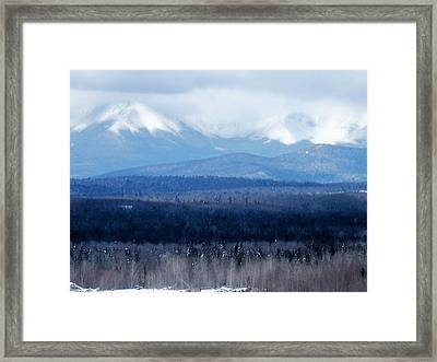 Framed Print featuring the photograph Katahdin Snow by Gene Cyr