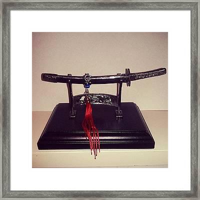 #katana #decorative #miniature #weapon Framed Print by Alvaro Martinez Celestino