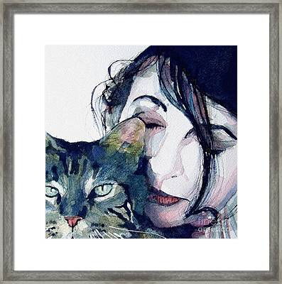 Kate And Her Cat Framed Print