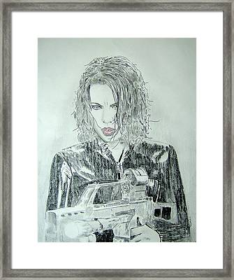 Kate Beckinsale Underworld Drawing Framed Print