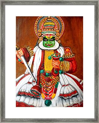 Framed Print featuring the painting Kathakali by Saranya Haridasan