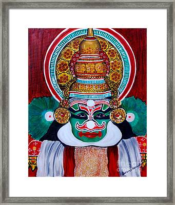 Framed Print featuring the painting kathakali..Duryodhana by Saranya Haridasan