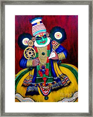 Framed Print featuring the painting Kathakali..lord Krishna by Saranya Haridasan