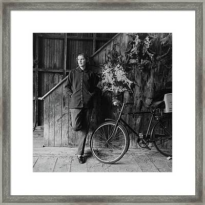 Katharine Shields By A Bicycle Framed Print by Richard Rutledge