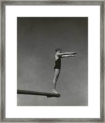 Katherine Rawls Getting Ready To Dive Framed Print
