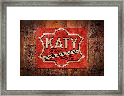 Katy Railroad Sign Dsc02853 Framed Print by Greg Kluempers