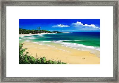 Framed Print featuring the digital art Kauai Beach Solitude by Anthony Fishburne