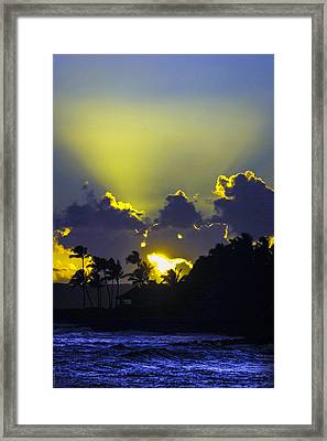 Kauai Sunset Framed Print by Debbie Karnes