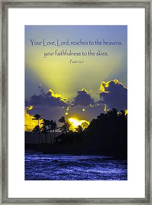 Kauai Sunset Psalm 36 5 Framed Print by Debbie Karnes