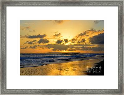 Kauai Sunset With Niihau On The Horizon Framed Print by Catherine Sherman