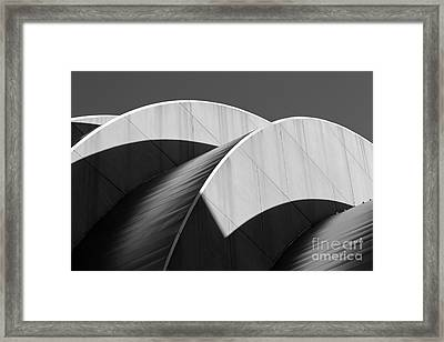 Kauffman Center Curves And Shadows Black And White Framed Print