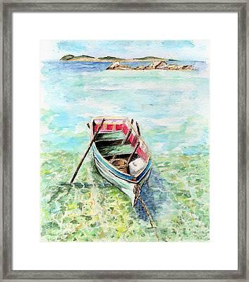 Kavala Row Boat Framed Print by Tamyra Crossley