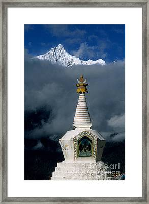 Kawagarbo Peak And Stupa Framed Print by James Brunker