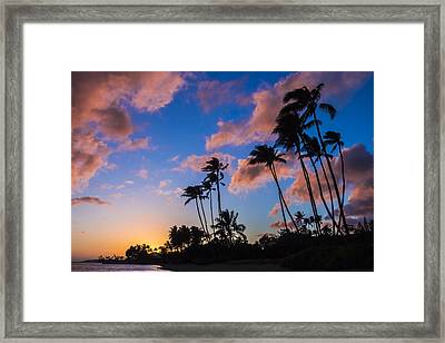 Framed Print featuring the photograph Kawakui Sunset 3 by Leigh Anne Meeks