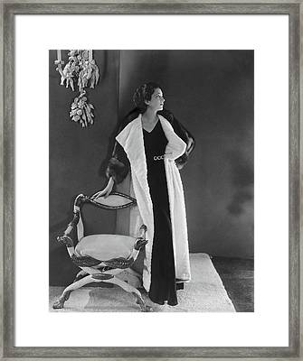 Kay Francis Wearing A Fur Coat Framed Print