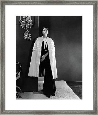 Kay Francis Wearing An Ermine Cape Framed Print