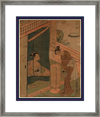 Kaya No Hahako, Mother And Child Behind Mosquito Netting Framed Print by Harunobu, Suzuki (1725-70), Japanese