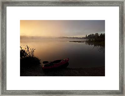Kayak Along Shoreline Sunrise Lake Cassidy Framed Print