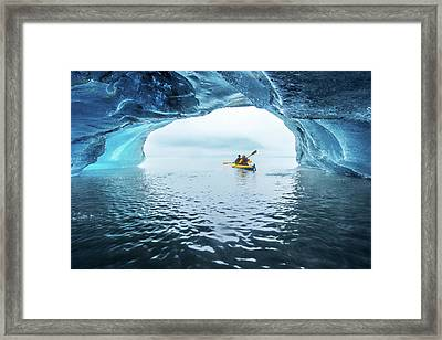 Kayak In Ice Cave Framed Print by Piriya Photography