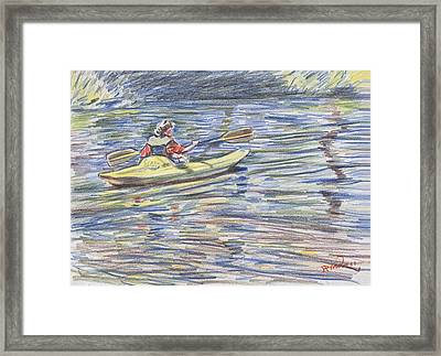 Kayak In The Rapids Framed Print by Horacio Prada