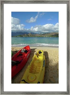 Kayak, Mokulua Island, Lanikai, Kailua Framed Print by Douglas Peebles
