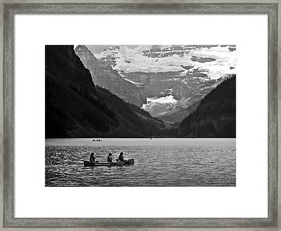 Kayak On Lake Louise Framed Print by RicardMN Photography