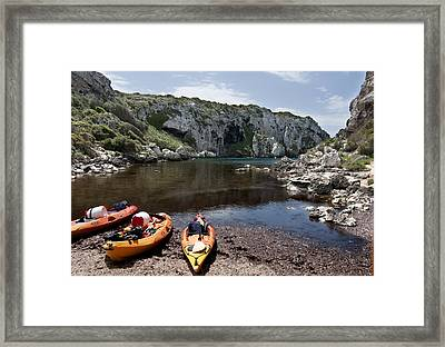 Kayak Time - The Landscape Of Cales Coves Menorca Is A Great Place For Peace And Sport Framed Print by Pedro Cardona Llambias