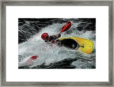 Kayaker In The Mainstream Framed Print