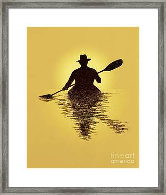 Kayaker Sunset Framed Print