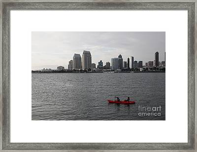 Kayaking Along The San Diego Harbor Overlooking The San Diego Skyline 5d24376 Framed Print by Wingsdomain Art and Photography