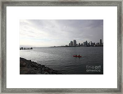 Kayaking Along The San Diego Harbor Overlooking The San Diego Skyline 5d24377 Framed Print by Wingsdomain Art and Photography