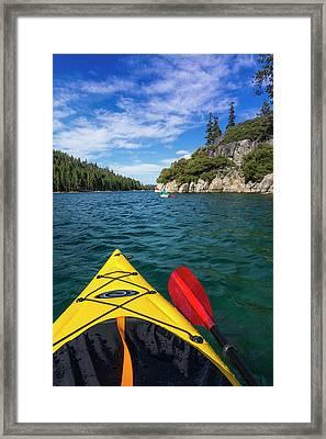 Kayaking In Emerald Bay At Fannette Framed Print