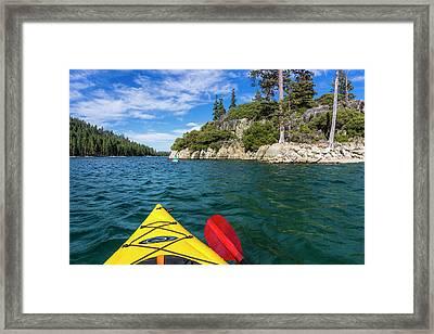 Kayaking In Emerald Bay, Emerald Bay Framed Print
