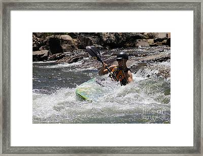Framed Print featuring the pyrography Kayaking In Golden by Chris Thomas