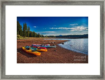 Framed Print featuring the painting Kayaking On Howard Prairie Lake In Oregon by Omaste Witkowski