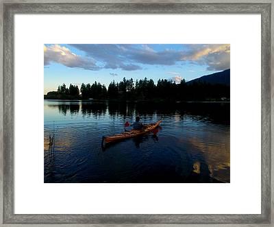 Kayaking Sunset Framed Print