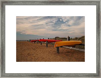 Framed Print featuring the photograph Kayaks by Amazing Jules