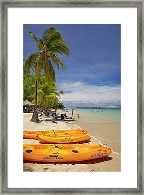 Kayaks And Beach, Shangri-la Fijian Framed Print by David Wall