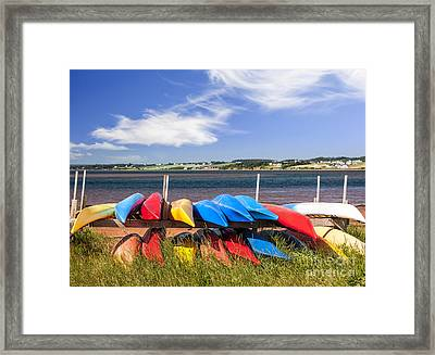Kayaks At Atlantic Shore  Framed Print by Elena Elisseeva