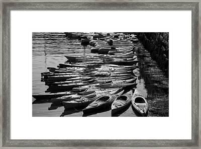Kayaks At Rockport Black And White Framed Print